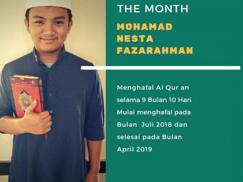 Mohamad Nesta Fazarahman, alumni 2017-2018 SMA Darul Hikam yang mengahafal 30 Juz